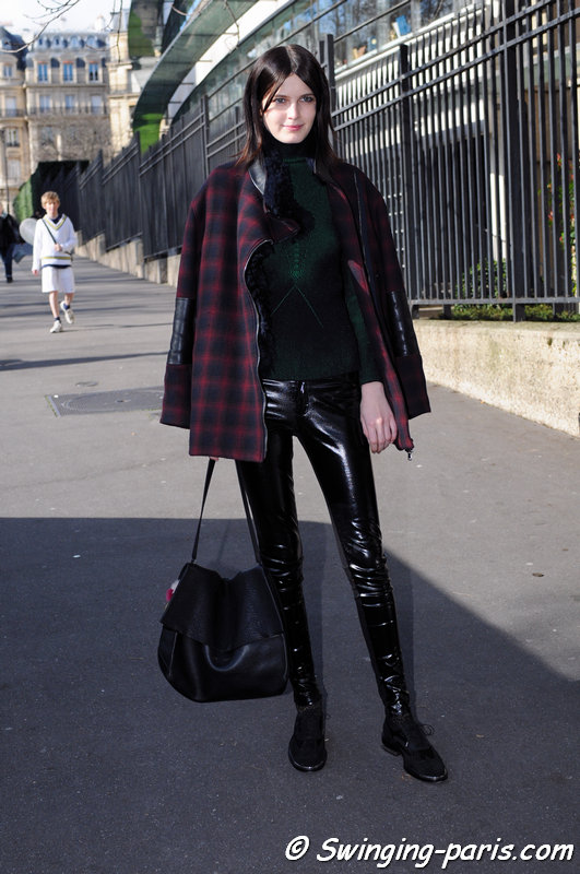 Zlata Mangafic leaving Miu Miu show, Paris F/W 2014 RtW Fashion Week, March 2014