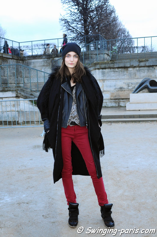 Zuzanna Bijoch leaving Nina Ricci show, Paris F/W 2014 RtW Fashion Week, February 2014