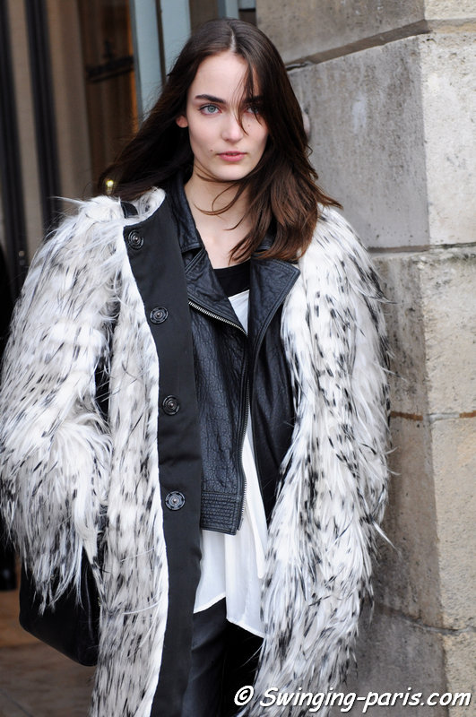 Zuzanna Bijoch leaving Emanuel Ungaro show, Paris F/W 2014 RtW Fashion Week, March 2014