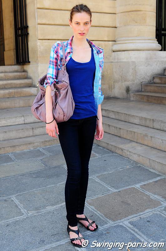 A model after Bouchra Jarrar show, Paris Haute Couture F/W Fashion Week, July 2011