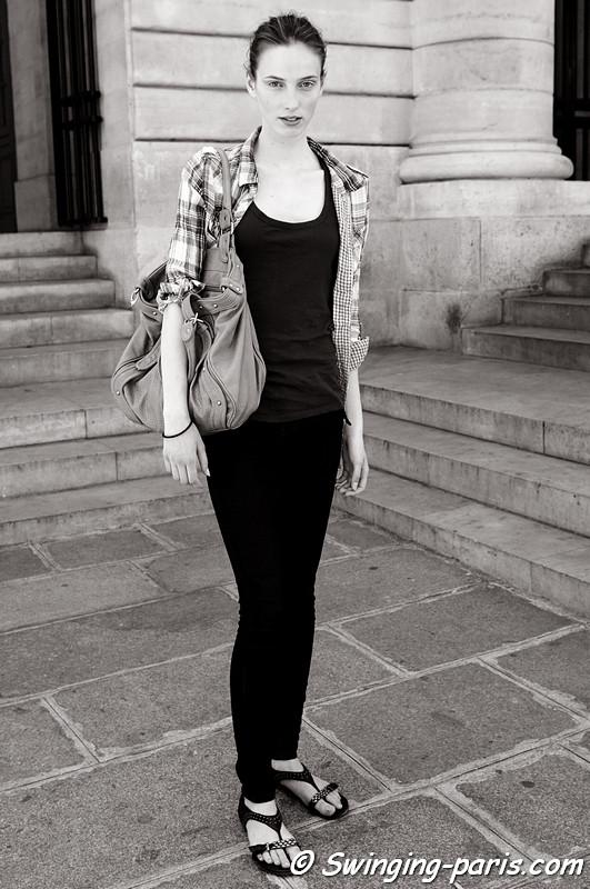 Denija Sarkanbikse after Bouchra Jarrar show, Paris Haute Couture F/W Fashion Week, July 2011
