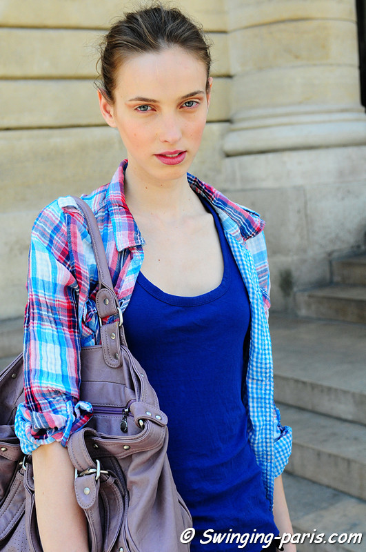 A model after Bouchra Jarrar show, Paris Haute Couture F/W Fashion Week, July 2011