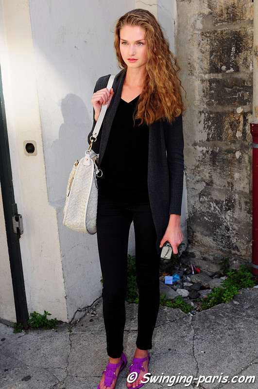 A model after Christophe Josse show, Paris Haute Couture F/W Fashion Week, July 2011