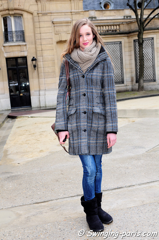 A model after Agns B show, Paris F/W RtW 2012 Fashion Week, March 2012
