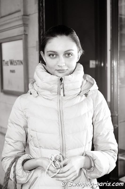 A model after Masha Ma show, Paris F/W RtW 2012 Fashion Week, March 2012