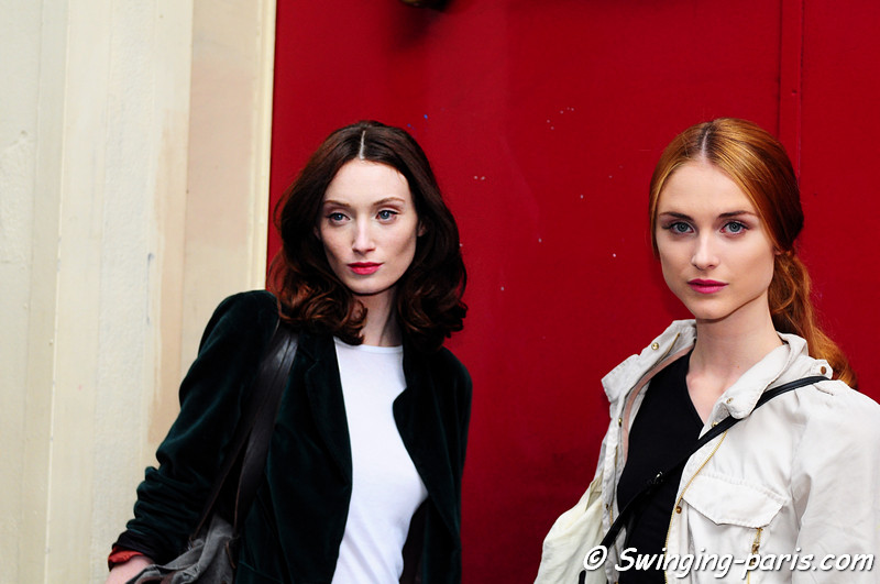 Two models after Frank Sorbier show, Paris Haute Couture F/W Fashion Week, July 2011