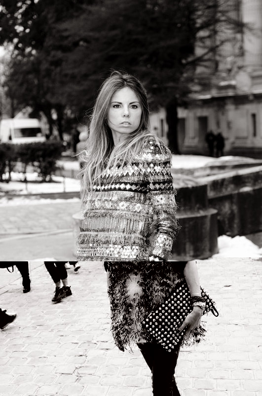 A young woman leaving Chanel show, Paris Haute Couture S/S 2013 Fashion Week, January 2013