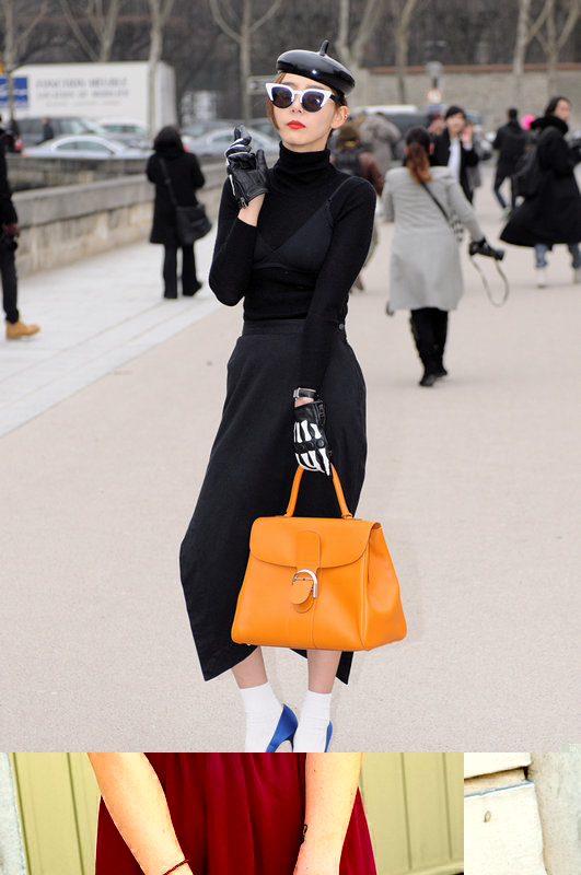 A young woman exiting Christian Dior show, Paris F/W 2013 RtW Fashion Week, March 2013