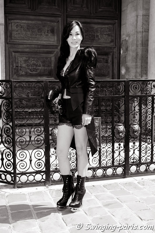 A young woman before Christophe Josse show, Paris Haute Couture F/W 2013 Fashion Week, July 2013