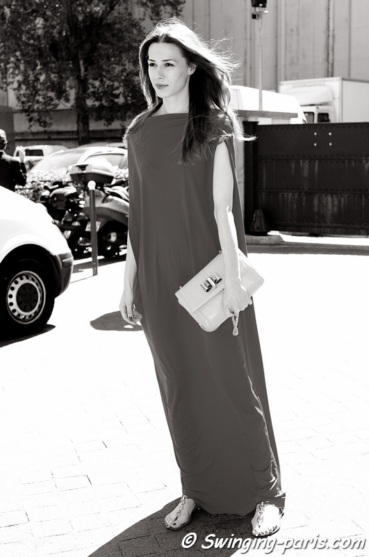A young woman after Giorgio Armani Priv show, Paris Haute Couture F/W 2012 Fashion Week, July 2012