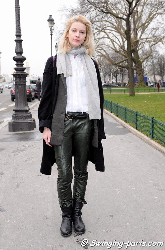 A young woman exiting Guy Laroche show, Paris F/W 2013 RtW Fashion Week, February 2013