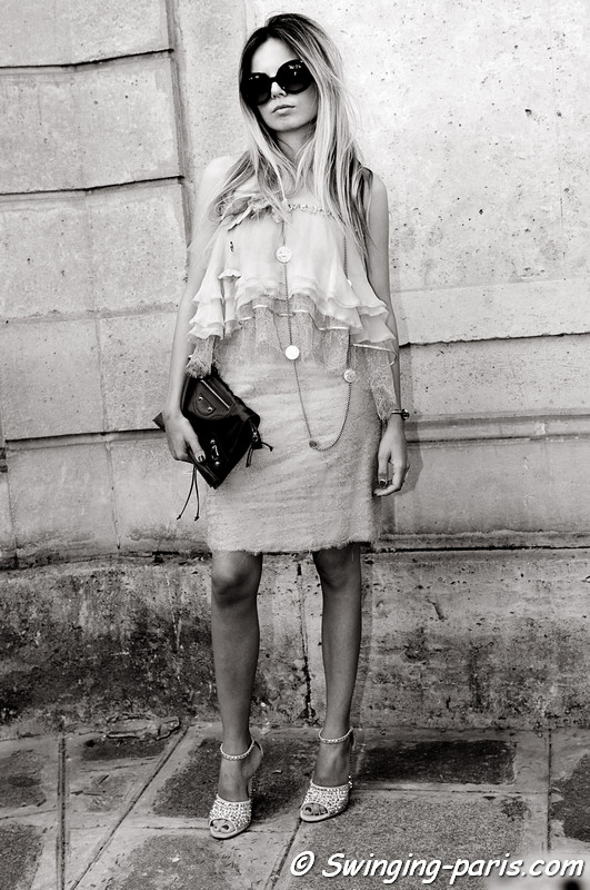 A young woman outside Valentino show, Paris S/S 2014 RtW Fashion Week, October 2013