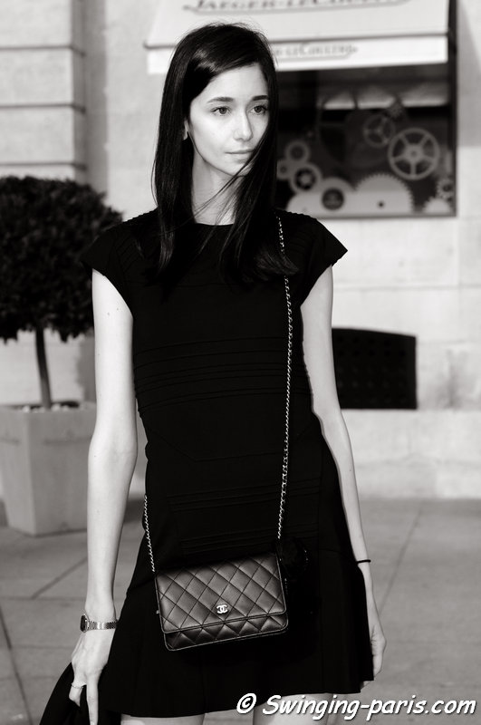 A young woman outside Vionnet show, Paris S/S 2014 RtW Fashion Week, October 2013