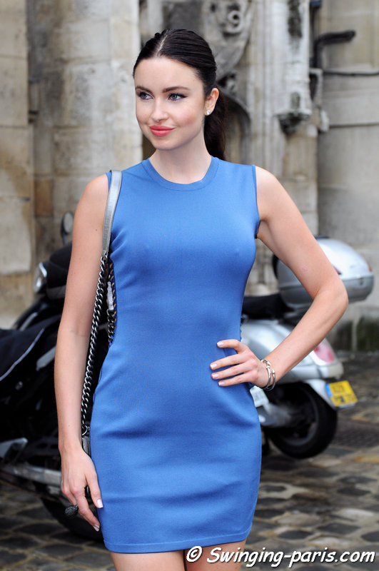 A young woman outside Zuhair Murad show, Paris Haute Couture F/W 2014 Fashion Week, July 2014