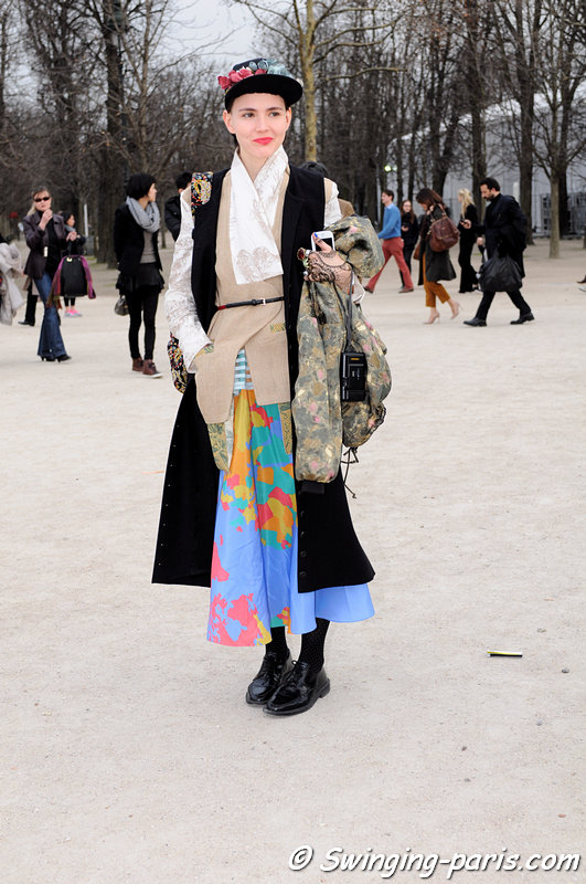 A young woman outside Elie Saab show, Paris Fashion Week, March 2011