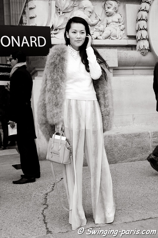 A young woman leaving Léonard show, Paris F/W RtW 2012 Fashion Week, March 2012