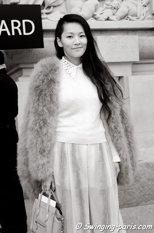 A young woman leaving Lonard show, Paris F/W RtW 2012 Fashion Week, March 2012