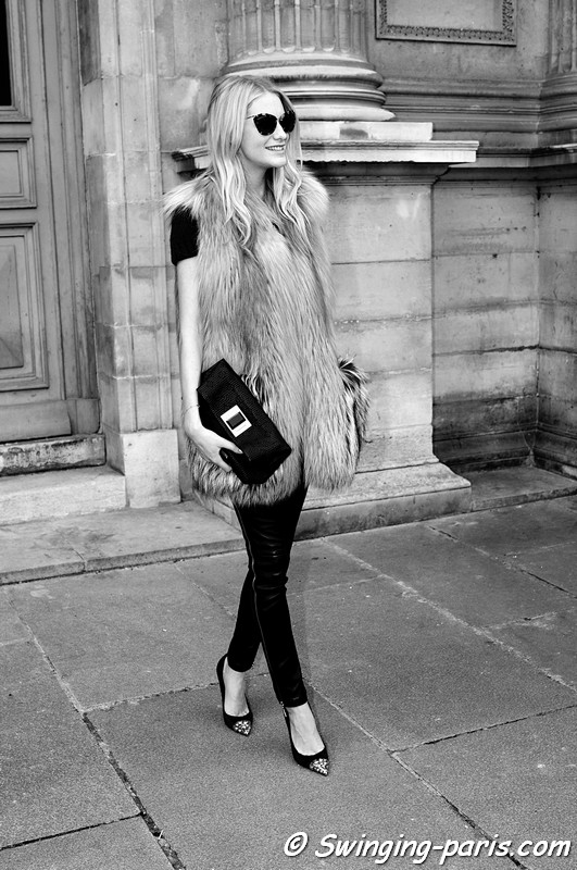 A young woman after Louis Vuitton show, Paris F/W RtW 2012 Fashion Week, March 2012