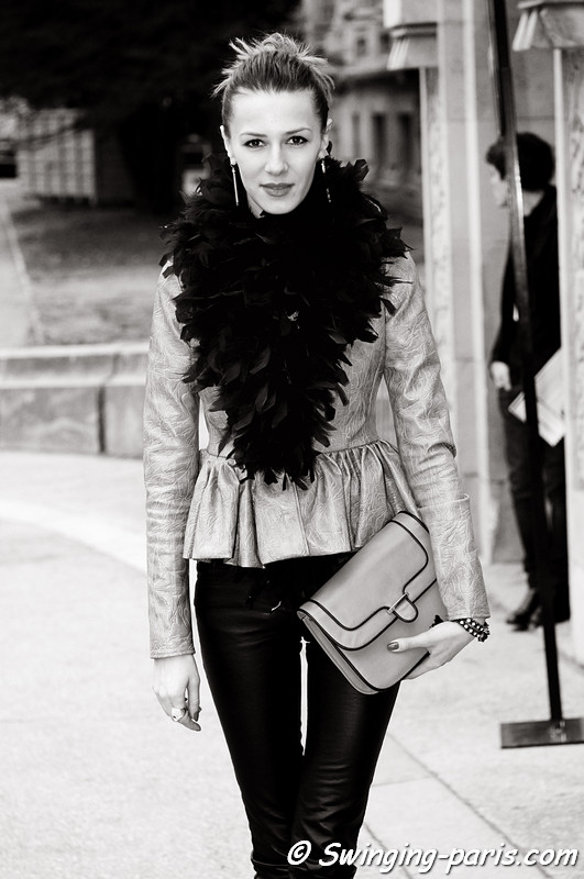 A young woman before Paco Rabanne show, Paris F/W RtW 2012 Fashion Week, March 2012