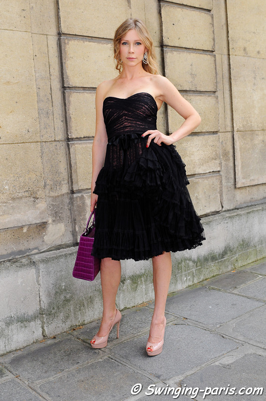 A young woman outside Valentino show, Paris Haute Couture F/W 2012 Fashion Week, July 2012